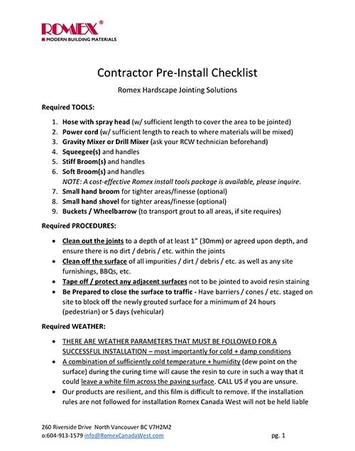 ROMEX Contractor Pre Install Site Checklist v190711