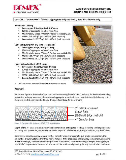 ROMEX Gravel Binding Solutions Costing and General Info Sheet noborder