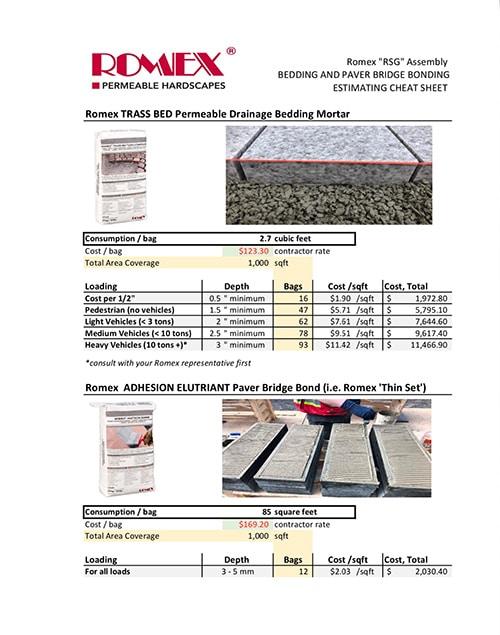ROMEX TRASS BED and ELUTRIANT Estimating Cheat Sheet v190705 noborder